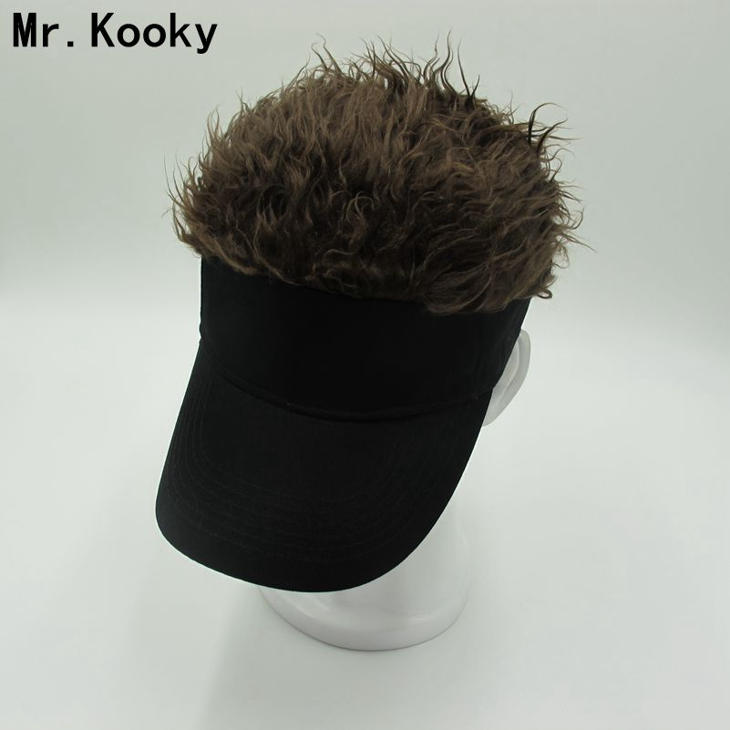 Mr.Kooky Hot New Fashion Novelty   Baseball     Cap   Fake Flair Hair Sun Visor Hats Men's Women's Toupee Wig Funny Hair Loss Cool Gifts