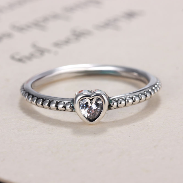 351556f02 Silver Color Pandora Ring Charms with Girls Heart Shape Crystal Wedding  Rings For Women Jewelry Gift