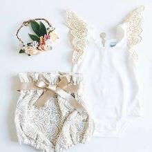 2pcs Baby Girls Clothes Outfits Lace Ruffles Sleeve Back Zipper Romper Tops+Bowknot Lace Floral Shorts Bloomers Shorts Set 0-18M недорго, оригинальная цена