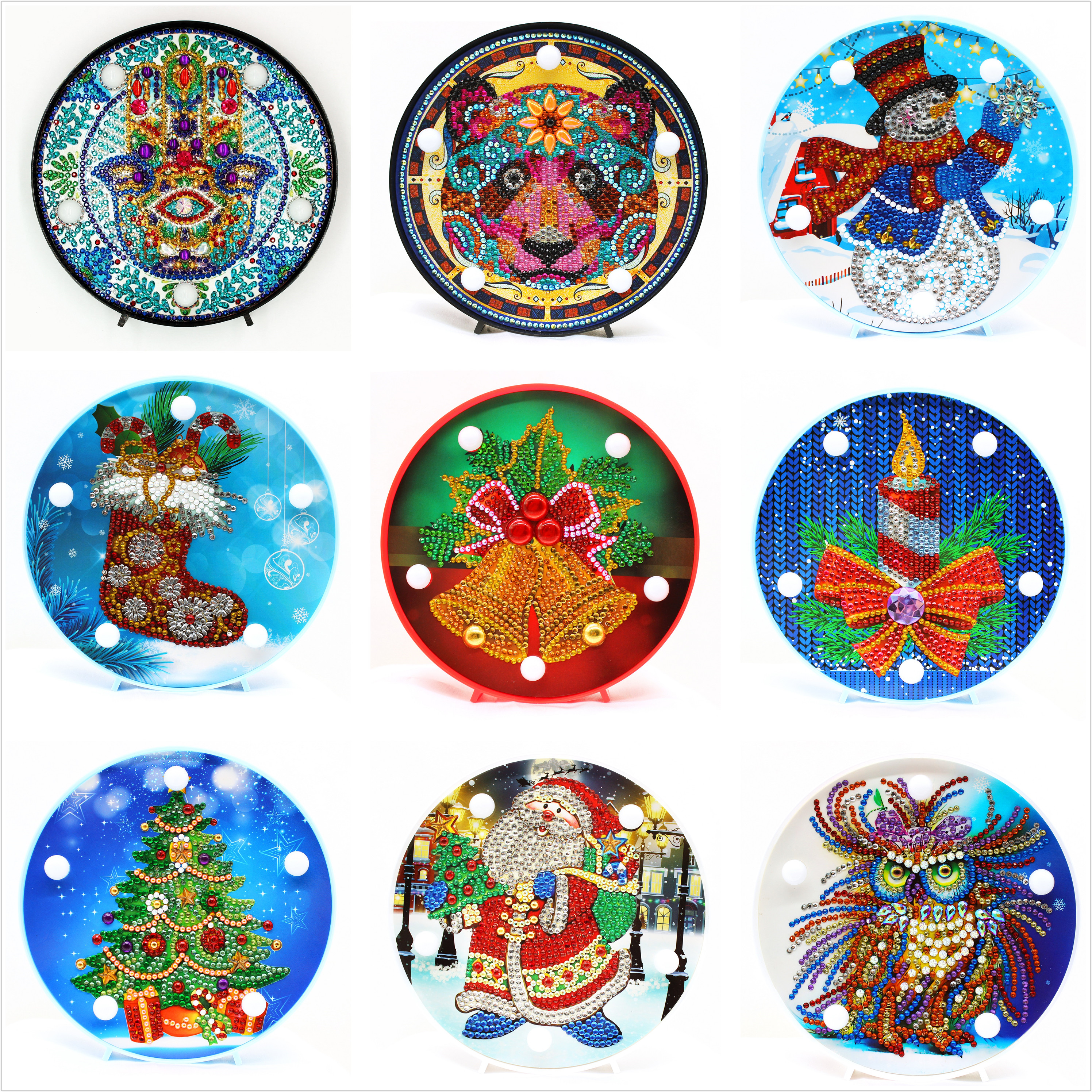 Shirliben Christmas Halloween Diy Diamond Painting Led Light Night Lamp Mandala Full Pasted Painting Christmas Gift Santa Man