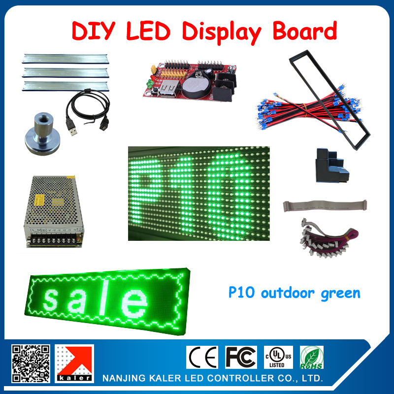 P10 Outdoorgreen Color LED Display Board Module And Control Card,power Cable Keel Display Magnets DIY Led Sign