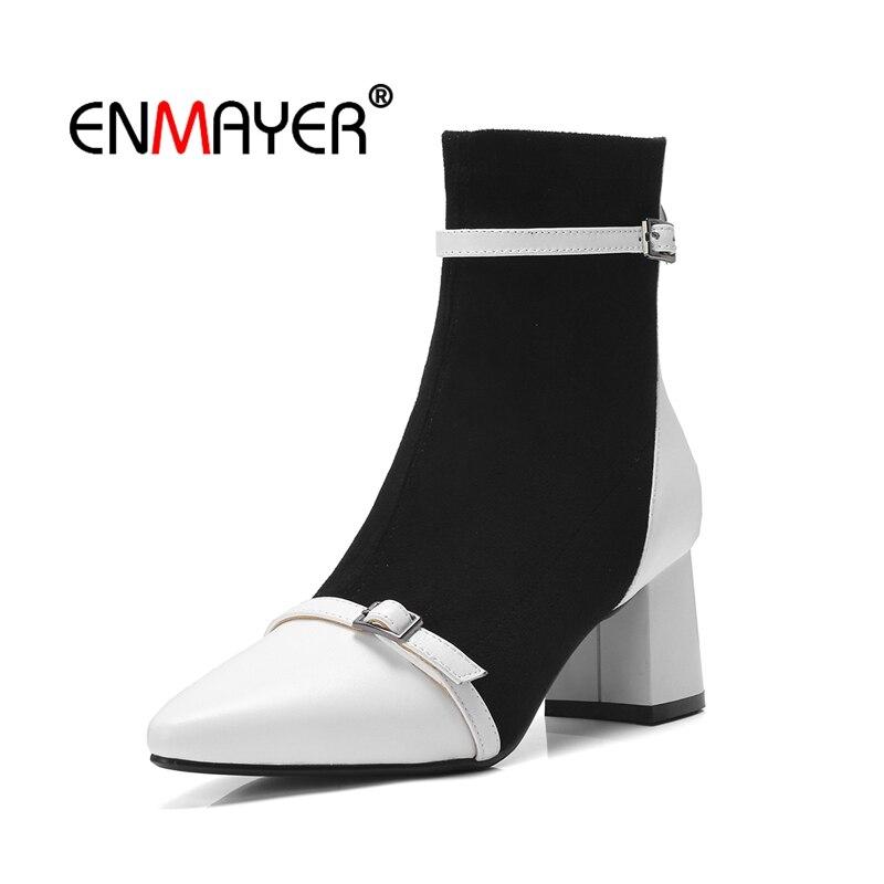 Mujer Botas Bolso Cr1595 white Zapatos Patchwork Mariposa Alto De Black Moda Tacón Nudo Enmayer Tobillo Invierno Vuelta wEpn6qxdXR