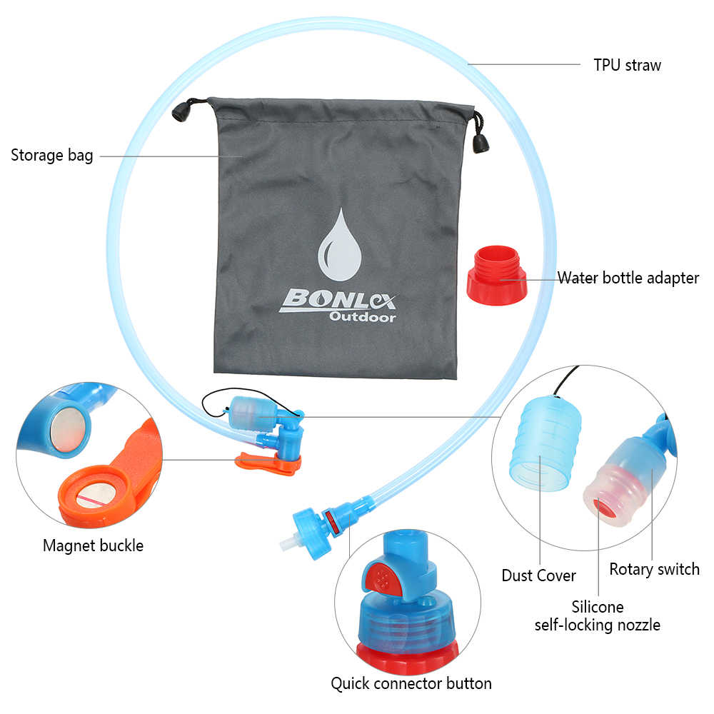Water Bladder Hydration Pack TPU Material Portable Soft Bite Nozzle Straw System