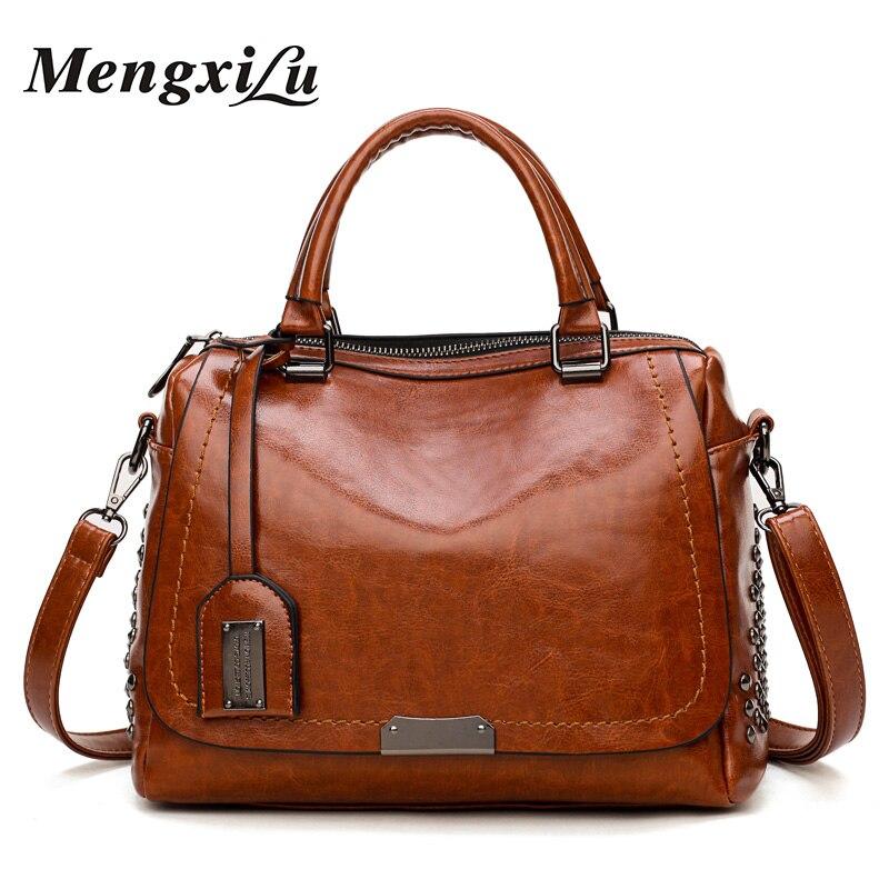 Vintage Rivets Women Shoulder Bags Large Capacity Pu Leather Women Handbags Luxury Handbags Women Bags Designer Ladies Bags