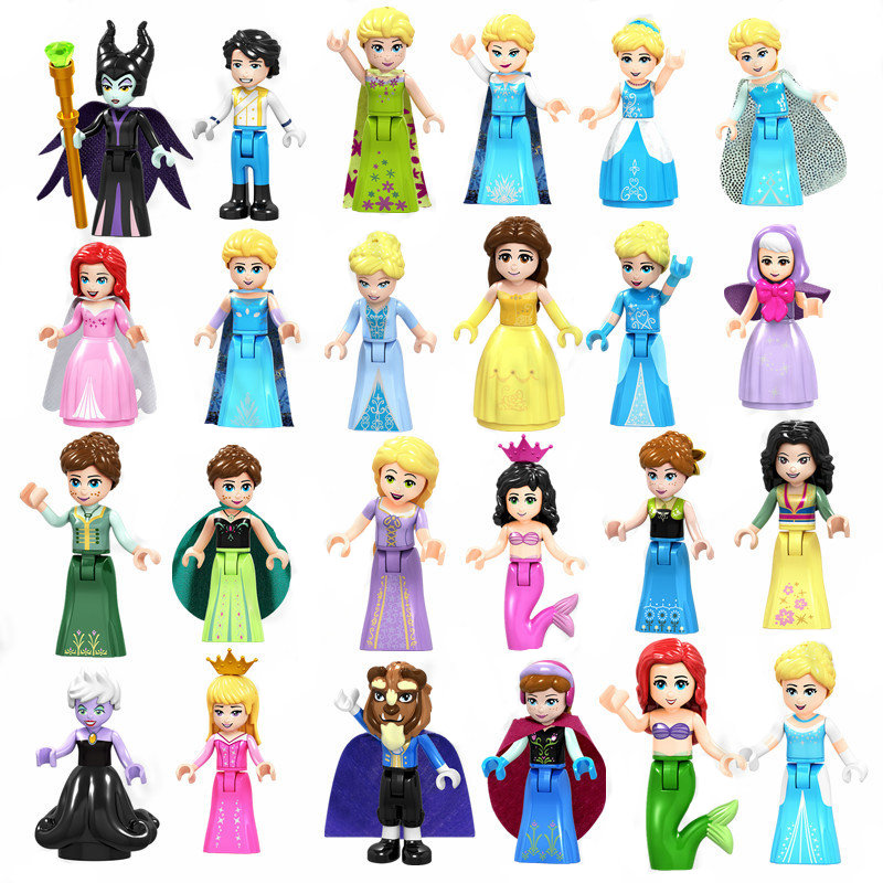 Playmobil Legoing Princess Series Building Blocks Prince Witch Maleficent Mermaid Figures LegoED Friends Toys Blocks for Girls(China)