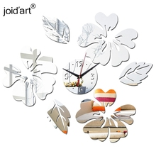 Modern 3D Acrylic Mirror Quartz Stickers Leaves Wall Clocks