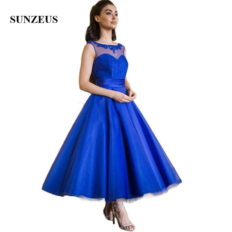 Royal Blue Lace   Bridesmaid     Dresses   Tea-Length A-Line Tulle Skirt Wedding Guest   Dress   Sheer Back Formal Party   Dresses   SBD155