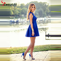 2016 Cheap Simple Royal Blue Cocktail Dresses Crew Cap Sleeves Mini Length Short Satin Cheap Formal Party Gowns