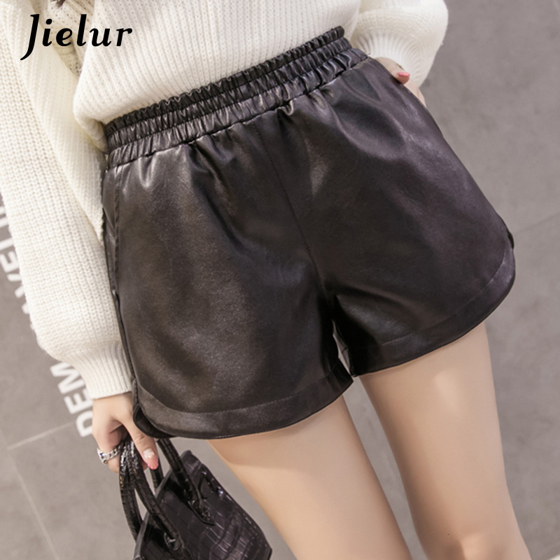 Jielur Shorts High-Waist Fashion Women Lady Loose Pockets PU for Female Basic Black S-XXL