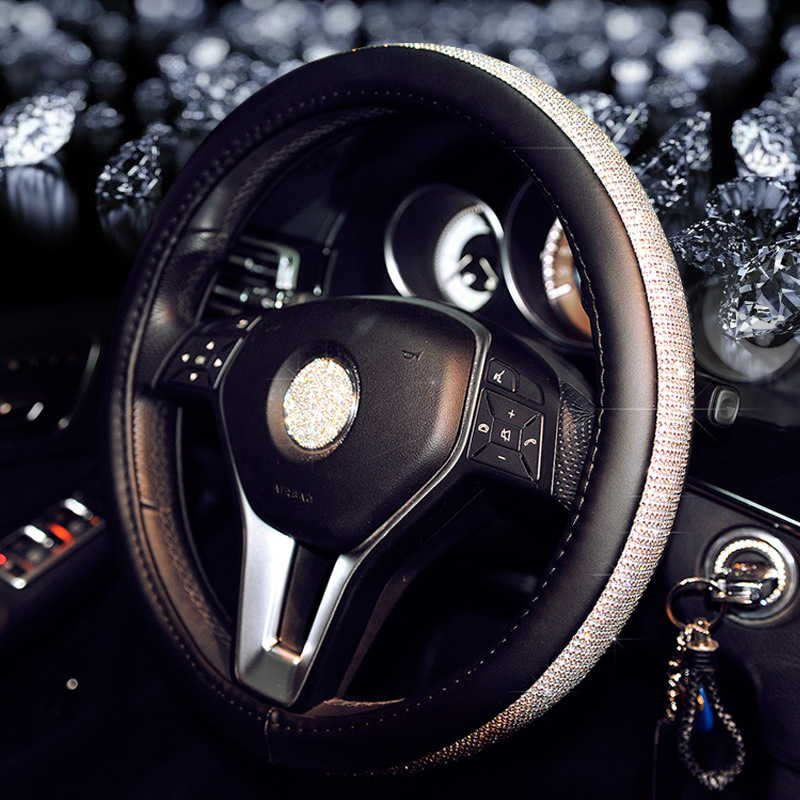 Beautiful Crown Diamond Rhinestone Shiny Bling Leather <font><b>Car</b></font> Steering <font><b>Wheel</b></font> <font><b>Covers</b></font> 38cm Female Auto Accessories <font><b>For</b></font> <font><b>Women</b></font> Girls image