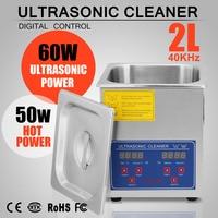 Stainless Steel 2L Industry Heated Ultrasonic Cleaner 110V BestEquip Commercial 60W Ultrasonic Power Heater Digital Timer
