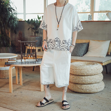 LOLDEAL Chinese T-shirt Sportswear Two-piece Beachwear Party Suit Summer Cotton Linen Thin Mens