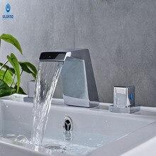 Ulgksd современный Стиль кран раковины бассейна кран холодной и горячей воды, смесители Двойной ручкой двойной Управление Chrome