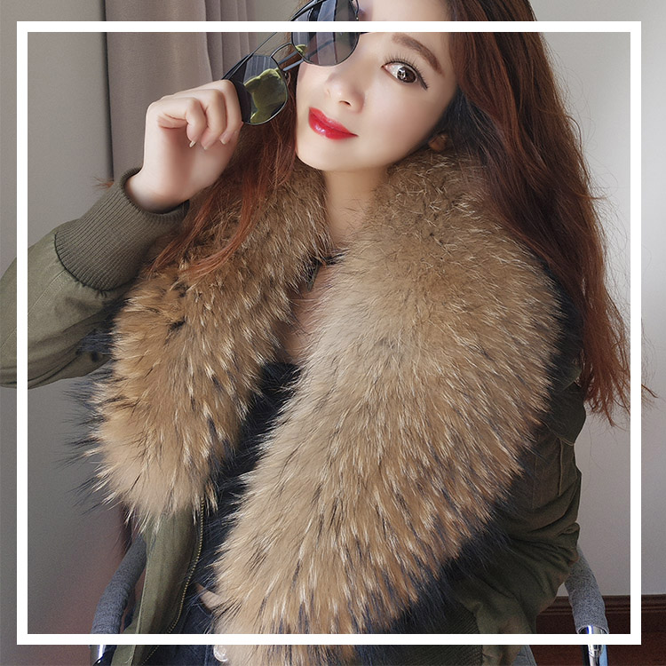 women cotton Flight suit jacket with real fur collar (2)