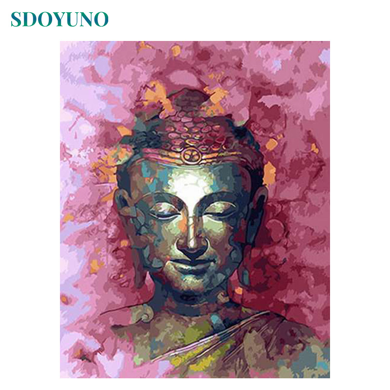 SDOYUNO Oil Painting By Numbers Buddha 60X75cm Frameless Home Decor Pictures By Numbers Faith Gift Wall Art Digital Painting