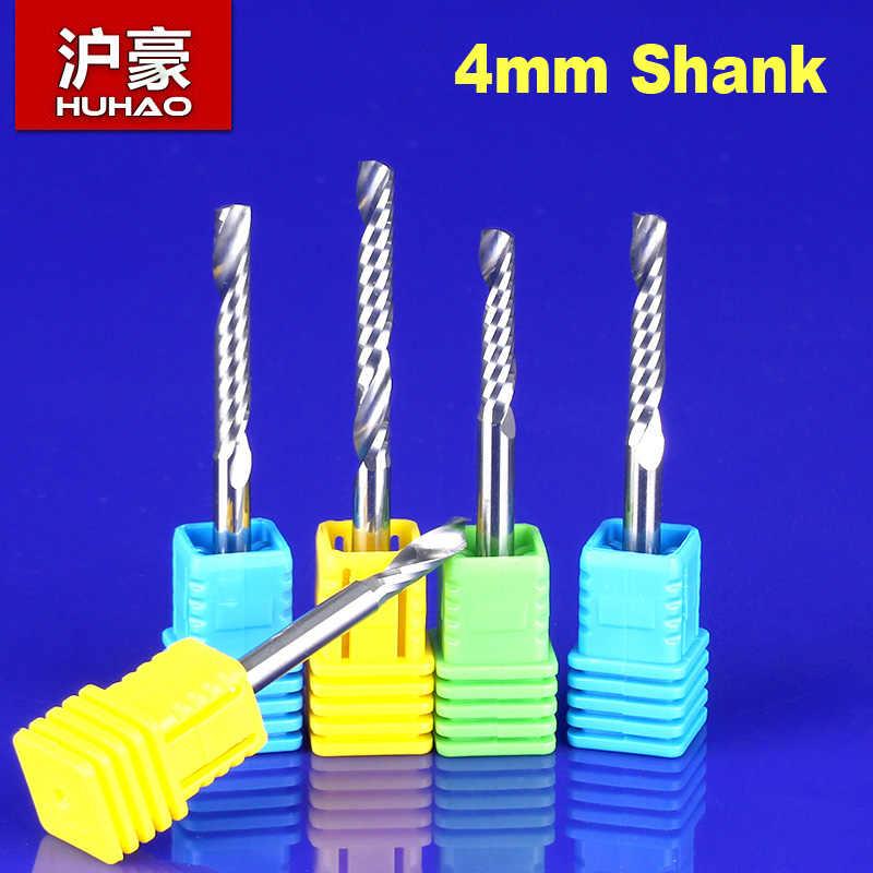 5Pcs SHANK 4mm ספירלה קצת CNC נתב כלי יחיד חליל לבחור גודל אקריליק גילוף frezer CEL 12 15 17 22