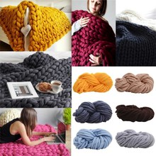2018 New Roving Knitted Blanket Chunky Wool Yarn Super Bulky Knitting Wool Roving Knitted Blanket