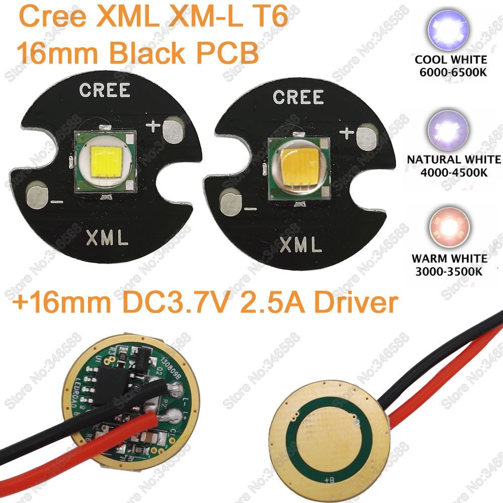 Home original cree xm l2 xml2 led emitter lamp light cold white - Cree Xml Xm L T6 Cold White Neutral White Warm White 10w High Power Led Emitter 16mm Black Pcb 16mm Dc3 7v 2a Driver 5 Modes
