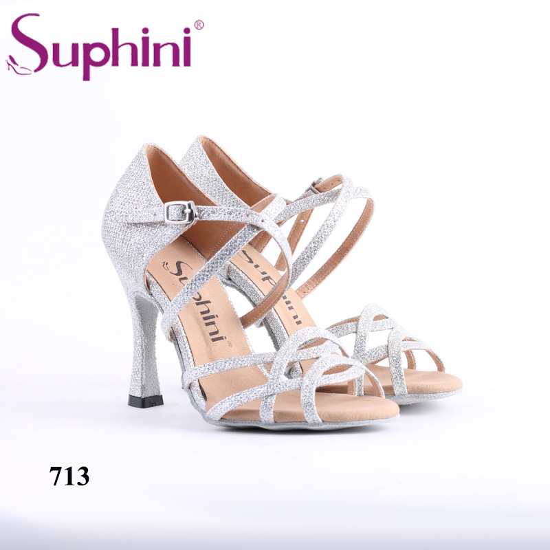 Free Shipping Suphini Competition Heel Salsa Latin Shoes Woman dance shoes Glitter Silver Latin Dance Shoes free shipping 2017 suphini latin red love dance shoes woman dance shoes crystal comfortable flexible latin dance shoes