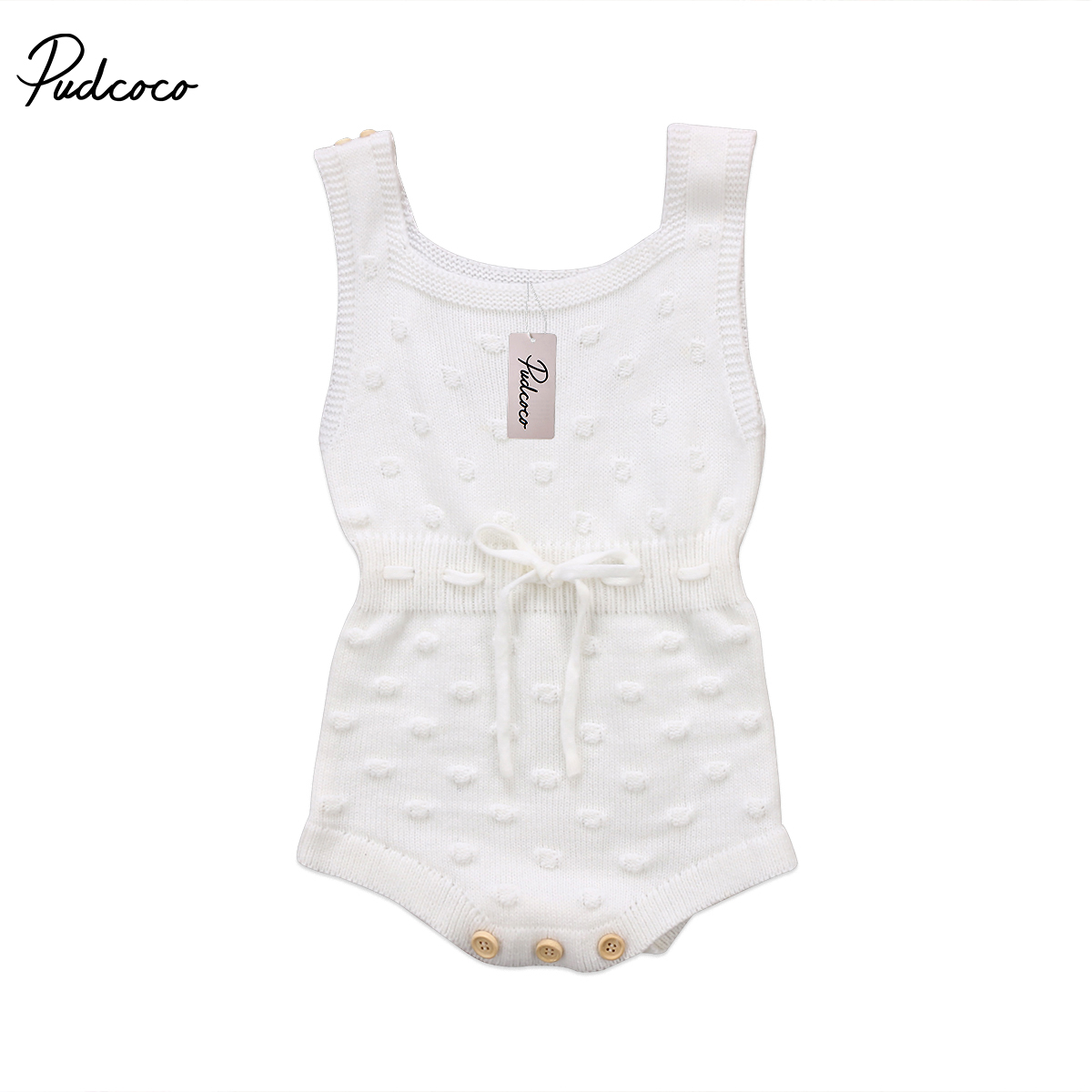 New 2018 Newborn Baby Girl Sleeveless Sleeveless Jumpsuit Knitted   Romper   Outfit Clothes 0-2T