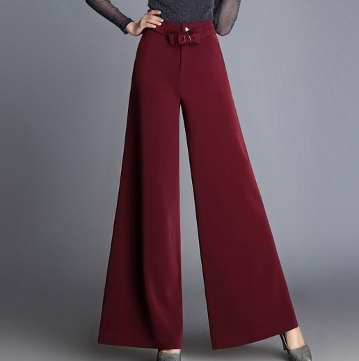 39957157b2 Pantalones Palazzo de gasa de cintura alta de talla grande para mujer  Pantalones sueltos de pierna ancha para mujer pantalones negros rojos caqui  Mujer en ...