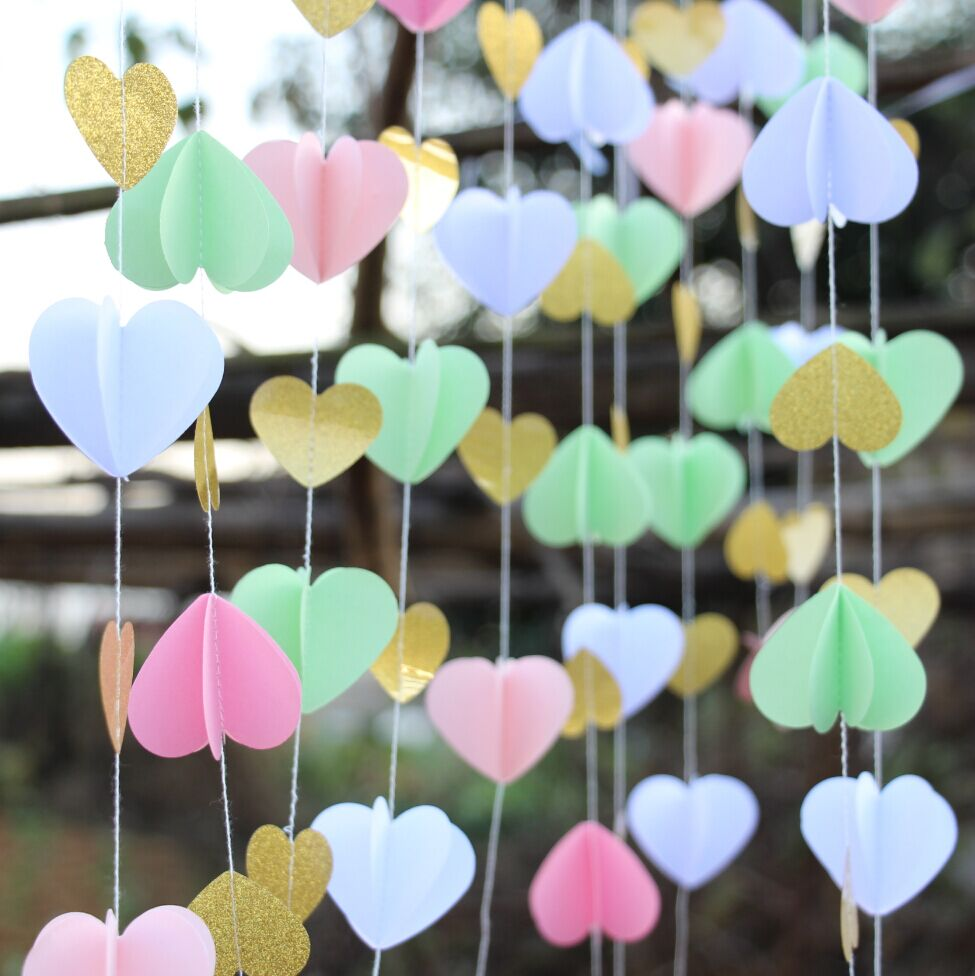 2pcs Pink Gold Paper Heart Garland DIY Wedding Curtain Backdrop Reception Decor In Party Backdrops From Home Garden On