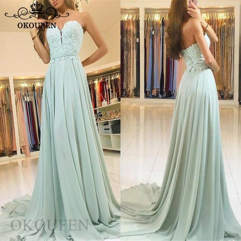 Flowing Chiffon   Bridesmaid     Dresses   With Appliques 2019 A Line Appliques Long Court Train Maid Of Honor   Dress   Party For Women