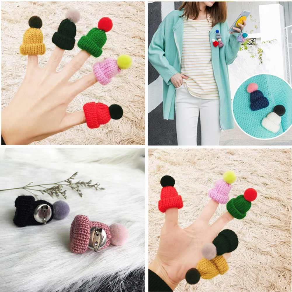 Winter Cute Mini Knitted Hairball Hat Brooch Sweater Pins for Women Accessories Creative Pompom Hats Pin Brooches Girls Gifts