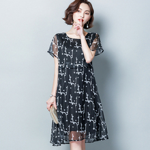 Spring and summer new style Large size XL-5XL womens dress Temperament chiffon print