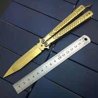 Cuchillo plegable cuchillos de bolsillo de la cuchilla de la canción de Bali mariposa en el cuchillo sin filo arcoíris oro titanio cuchillo de entrenamiento para el hombre