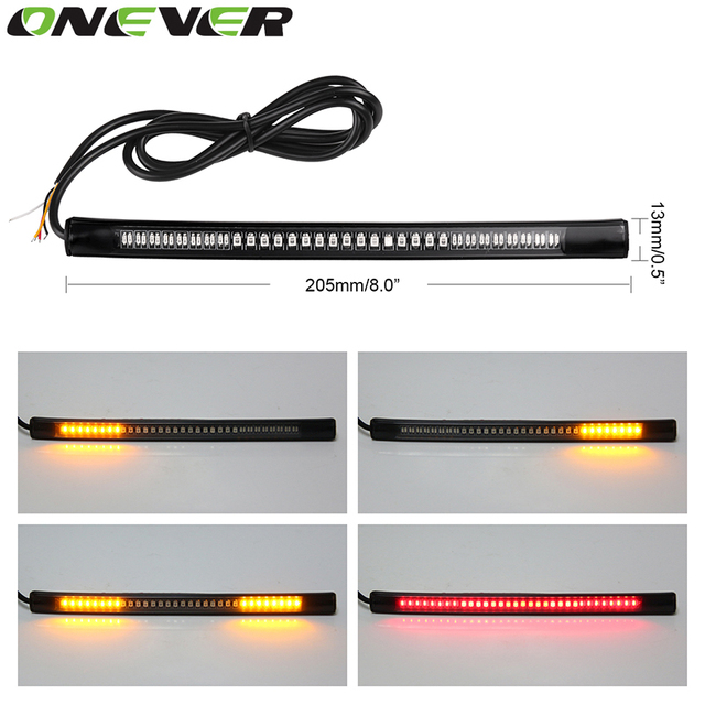 Motorcycle Flexible Strip Tail Brake Stop Turn Signal License Plate Light Integrated 3528 SMD 48 LED Red Amber Color Soft Rubber