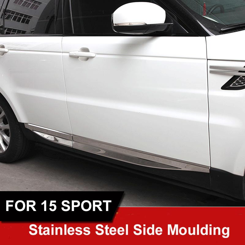 4pcs/set Stainless steel accessories Side Moulding Accent Cover Trim Body Skirt For Land  Range Rover Sport  2015 2016  styling for vauxhall opel astra j 2010 2014 stainless steel window frame moulding trim center pillar protector car styling accessories