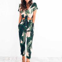 Lace Up Body Rompers Womens Jumpsuit Floral Leave Playsuit 2019 Women Summer Overalls Print Green Deep V Neck Jumpsuit Bodysuit