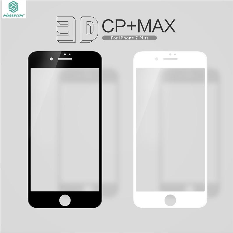 imágenes para Vidrio templado para el iphone 7/7 plus protector de pantalla original Nillkin para iPhone7 Pantalla Completa 3D Arco Curvado Borde Protector película