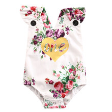 2018 Latest Children's Wear Floral Newborn Infant Baby Girls 100% Cotton 1st Birthday Bodysuit Playsuit Jumpsuit Outfit 0-24M(China)
