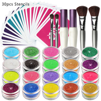 OPHIR 20 Color Glitter Powder with 30 Stencils 2 Glitter Glue & 4 Brushes for Temporary Glitter Tattoo Nail Art Body Paint_TA115