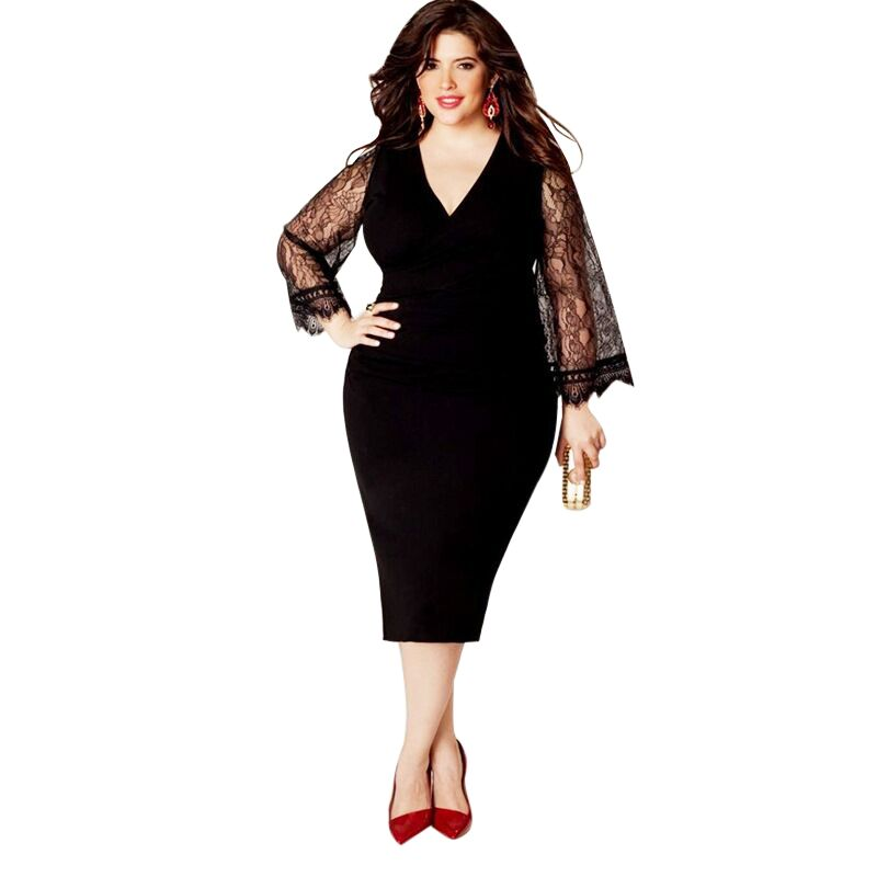 4XL 5XL 6XL Plus Size Women Clothing Curve Basic Streetwear Long Sleeve  Black Lace Bodycon Dress Big Size Midi Women Dress