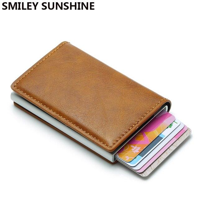 Rfid bloqueo automático de los hombres delgados billeteras hombre Mini cartera monedero Slim tarjeta titulares ID cartera pequeños monederos bolsa de dinero Valet