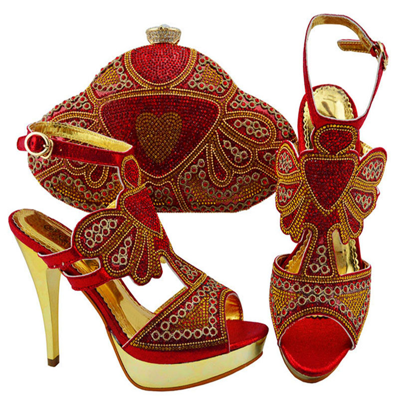 jzc004 Women Shoes and Bag Set In Italy Red Color Italian Shoes with Matching Bag Set Decorated with Rhinestone цена 2017