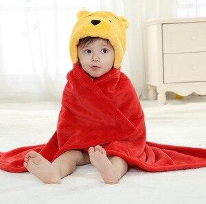 Фланелевый банный халат с капюшоном для мальчиков и девочек, пижама с милыми героями мультфильмов