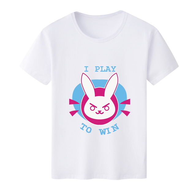 2018 New Arrival T Shirt Men for Cute Kawaii OW DVA Rabbit D.VA logo O-Neck Printed T-shirts Short Sleeve Tee Shirts