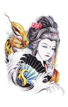 Oriental Traditional Exotic Sexy Beauty Girl Beauty Makeup Body Art Waterproof Temporary Tattoo Stickers