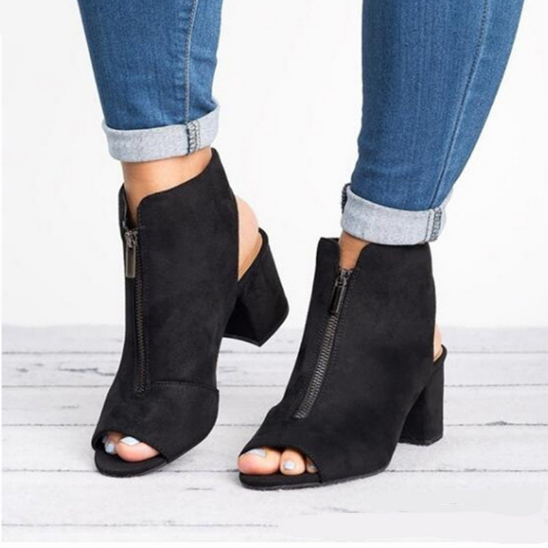 PUIMENTIUA Fashion Ankle Boots Faux Suede Leather Casual Open Peep Toe High Heels Zipper Square Rubber Black Women Shoes 36-42PUIMENTIUA Fashion Ankle Boots Faux Suede Leather Casual Open Peep Toe High Heels Zipper Square Rubber Black Women Shoes 36-42