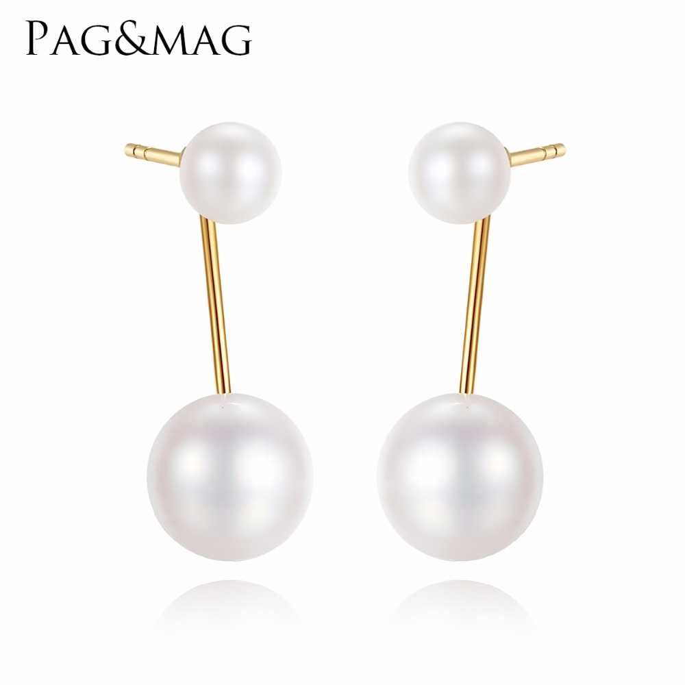 PAG&MAG 6.5-7mm Freshwater Pearl With With Fine Tear Drop Pearl Dangle Earrings 18K Gold Drop Earrings Fine Jewelry For Girl yoursfs dangle earrings with long chain austria crystal jewelry gift 18k rose gold plated