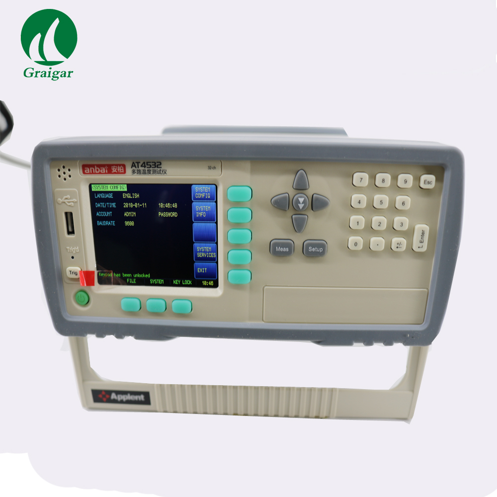 Temperature Meter AT4532 Industrial Thermocouple Thermometer Temperature Datalogger with TFT True Color LCD Display