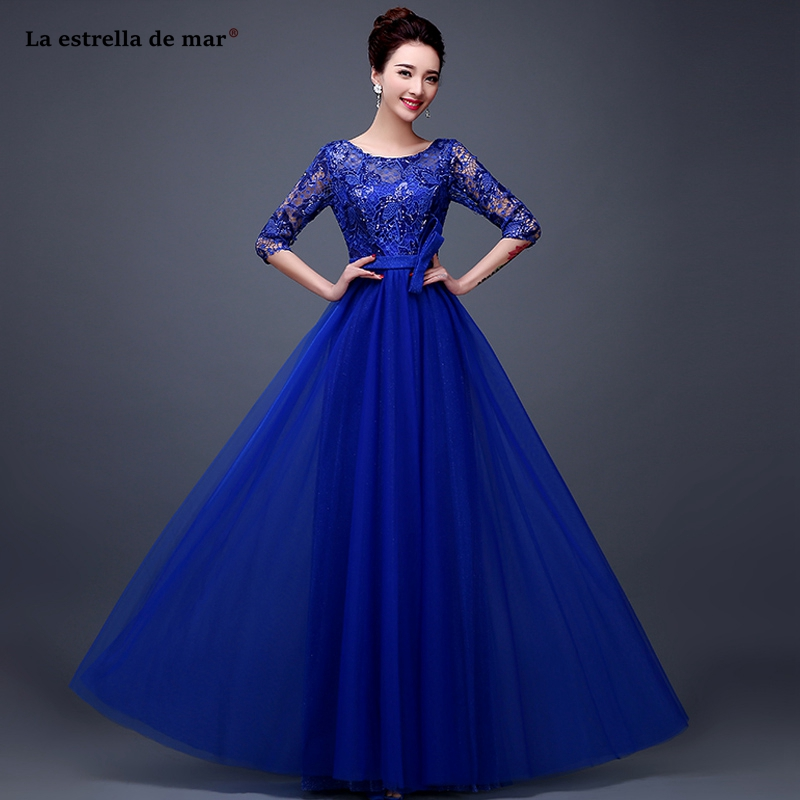 Vestido madrinha new lace sequin half sleeve Aline royal blue   bridesmaid     dresses   long wedding party   dress