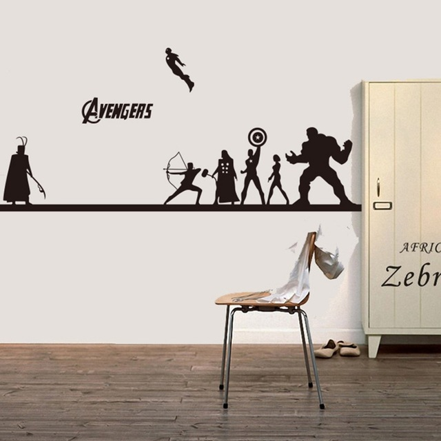 Creative DIY wall art home decoration Iron Man Avengers 2 & Hulk & Captain America & Boy bedroom living room wall stickers