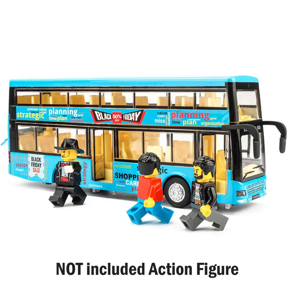 High Quality 1:32 Alloy Pull Back Bus Model High Imitation Double Decker Bus Toy Sightseeing Bus Toy Vehicle