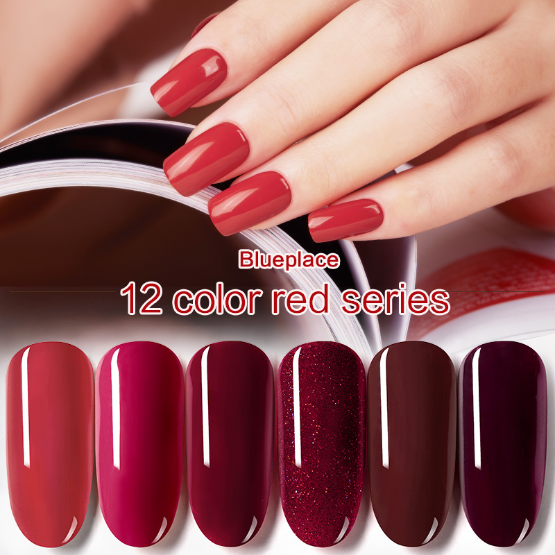 Hot Sale 1PC Blue Place 8ml Wine Red Nail Gel Polish Shiny Vanish Lacquer UV LED Lamp 120 Colors Soak Off Cosmetics Manicure