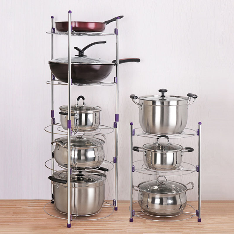 US $23.27 50% OFF|Kitchen Storage 2 Layers 3 Layers Stainless Steel Kitchen  Pot Rack Multifunction Kitchen Storage Rack For Cooker Pot Shelves-in ...